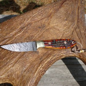 AMBER STAG HANDLE FIRE STORM DAMASCUS BLADE BIRD TROUT HUNTING KNIFE FILE WORKED