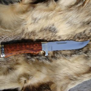 CUSTOMIZED BUCK 119 SNAKE WOOD HANDLE BOWIE KNIFE FILED BLADE