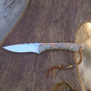 CARBON STEEL DOUBLE DYED BOX ELDER HANDLE DROP POINT KNIFE