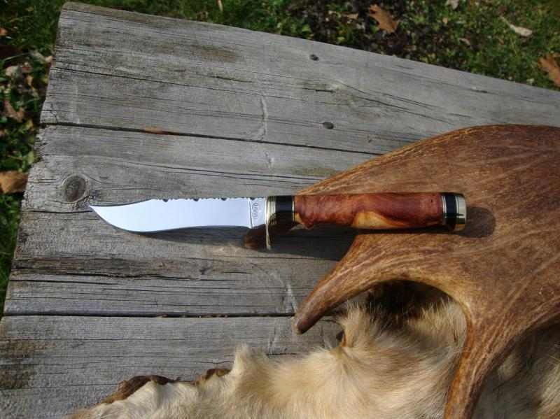 CARBON STEEL CLIP POINT AFZELIA BURL BUFFALO HANDLE FILED BLADE