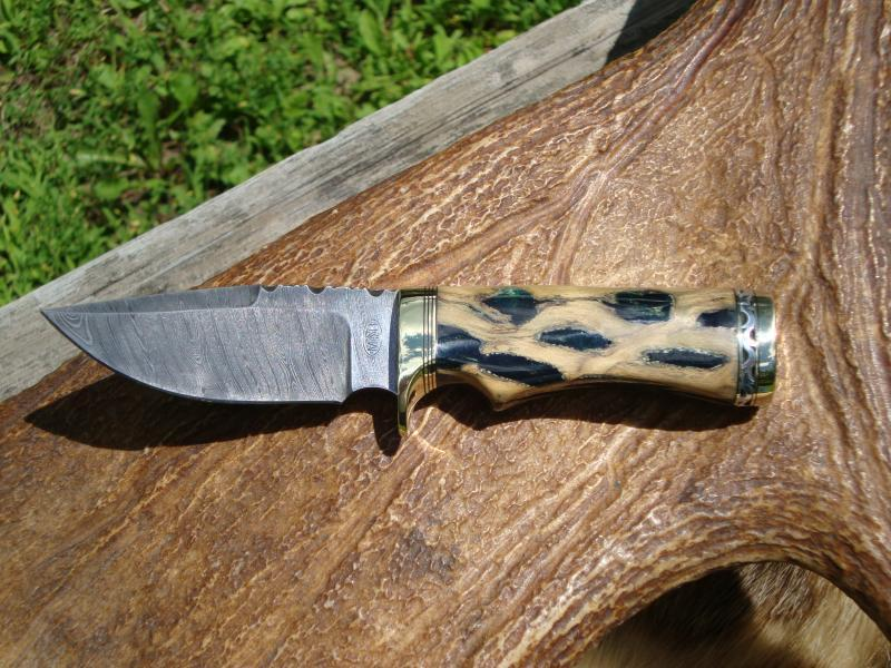 DAMASCUS BLADE CHOLLA CACTUS WITH EMERALD GREEN RESIN HANDLE