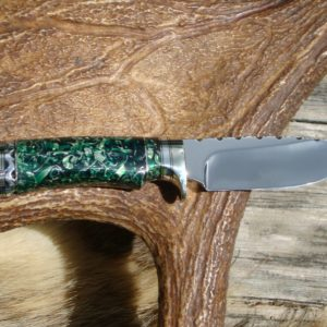 52100 BEARING STEEL BLADE WITH EMERALD GEEN RESIN WITH ALUMINUM SHRAPNEL HANDLE DROP POINT HUNTER FILE WORKED