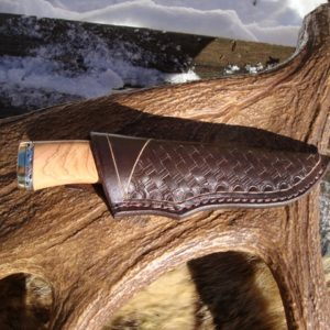 AFRICAN OLIVE WOOD WITH AFRICAN BLACKWOOD FILE WORKED DAMASCUS BLADE & SPACER