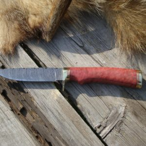 AFRICAN PINK IVORY BURL HANDLE DAMSCUS BLADE HUNTING KNIFE FILE WORKED BLADE