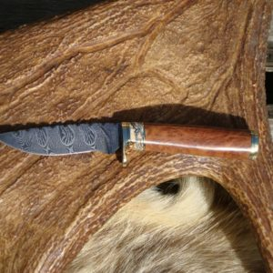 AUSTALIAN RED MALLE WITH MAMMOTH TOOTH HANDLE DAMASCUS BLADE FILE WORKED HUNTER