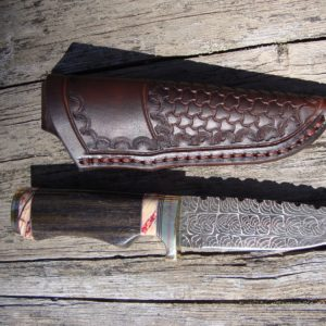 Russian Bog Oak and Mammoth tooth spacers Mosiac Damascus blade with file work