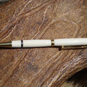 Custom Hand Turned Mammoth Ivory Pen with 24kt Gold Plated Fittings