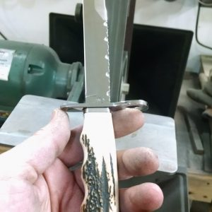 Custom M4 Bayonet with Red stag handles file worked blade