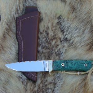 AMBOYNA WOOD HANDLE 440C BLADE TAPERED TANG FILE WORKED HUNTER