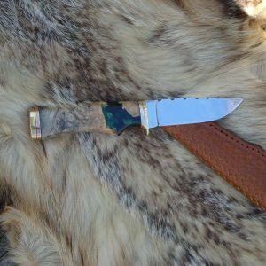 Buckeye Burl Wood With Resin Handle File Worked 440C Blade Drop Point Hunter